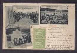 CPA TURQUIE - SMYRNE - IZMIR - SOUVENIR DE SMYRNE - TB CP Multivue Dont Danse Des Zeibecks , Campement , Fontaine 1902 - Turquie