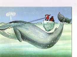 Non Signé , Carte Double, Pere Noel Sur Iceberg Tiré Par Baleine - Contemporain (à Partir De 1950)