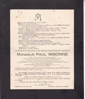GILLY LUSTIN Paul MISONNE Avocat Ancien Bâtonnier Charbonnages Noël-Sart-Culpart  1857-1926 - Overlijden