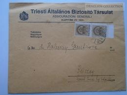 ZA165.15  Hungary KŐSZEG Cover 1944 - Assicurazioni Generali - Insurance Company - TRIESTE Triest -Halmay - Covers & Documents