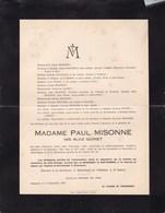 CHARLEROI Alice QUINET épouse Paul MISONNE 78 Ans 1933 - Overlijden