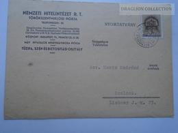 ZA165.18  Postcard - Nemzeti Hitelintézet -Törökszentmiklós  1942 - Mertz Endréné Szolnok - Hungary