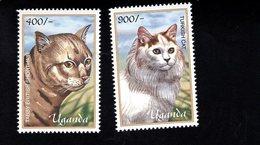 703461391 UGANDA POSTFRIS MINT NEVER HINGED POSTFRISCH EINWANDFREI  SCOTT 1714 1715 CATS - Ouganda (1962-...)