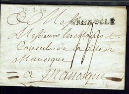"""FR - 1784 - Marque """"Grenoble"""" Lettre En Port Dû, Taxe Manuscrite14 Sols, Pour La Ville De Manosque - Texte - B/TB - - Marcophilie (Lettres)"""