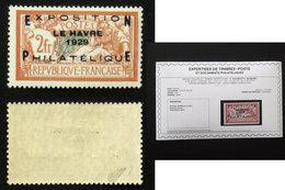 N° 257A 2F EXPO LE HAVRE 1929 TB Neuf N* Cote 875€ Signé Calves + Certificat - Frankreich