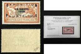 N° 257A 2F EXPO LE HAVRE 1929 TB Neuf N** Cote 1600€ Signé Calves + Certificat - Frankreich