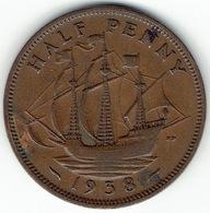 United Kingdom, Half Penny 1938 - 1902-1971 :  Post-Victoriaanse Muntstukken