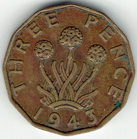 United Kingdom, Three Pence 1943 - 1902-1971 :  Post-Victoriaanse Muntstukken