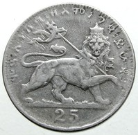1931 -  25 Matonas -  ፳፭ መቶኛ። (25 Ma.to.ña) - KM# 30 - -  BB - - Ethiopia
