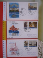 A.01 ITALIA ANNULLO - 1973 VENEZIA N. 3 FDC SALVIAMO VENEZIA COLONNA LEONE LION SAN S. MARCO LAGUNA - Holidays & Tourism
