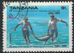 Tanzanie Oblitéré Used Fishing Pêche 25 Ans Union Tanganyika Et Zanzibar - Tanzanie (1964-...)