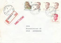 282/28 - GUICHET SPECIAL (Tarif Spécial) - Lettre Recommandée TP Velghe Et Oiseau Buzin KORTRIJK X 1989 - TARIF 106 F - 1981-1990 Velghe