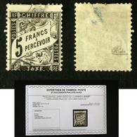N° TAXE 24 DUVAL 5F Noir Oblit Déf. Cote 2000€ Signé Calves + Certificat - Taxes