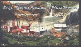 TURKEY , 2014, MNH, NATURE, WATERFALLS, MUSHROOMS, DEER, FORESTS, S/SHEET - Stamps