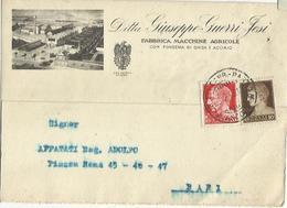 CP0123-CARTOLINA PUBBLICITARIA FABBRICA MACCHINE AGRICOLE GIUSEPPE GUERRI JESI - 1900-44 Vittorio Emanuele III