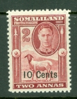 Somaliland Protectorate: 1951   KGVI - Surcharge    SG126     10c On 2a    MH - Somaliland (Protectorate ...-1959)