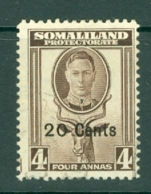 Somaliland Protectorate: 1951   KGVI - Surcharge    SG128     20c On 4a    Used - Somaliland (Protectorate ...-1959)