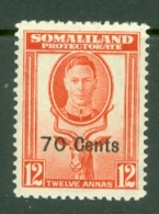 Somaliland Protectorate: 1951   KGVI - Surcharge    SG131     70c On 12a    MH - Somaliland (Protectorate ...-1959)