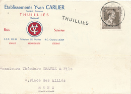 292/28 - Carte Privée Ets Carlier , Menuiserie à THUILLIES - TP Col Ouvert MARCHIENNE AU PONT 1953 - Griffe THUILLIES - Poststempel