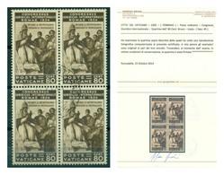 V6904 CITTA' DEL VATICANO 1935 Congresso Giuridico 80 C. Quartina Usata, Ottime Condizioni, Cert. Fotografico Bifani, - Vatican