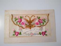 CPA.... Brodée Avec Ouverture Et Message à L Intérieur... Papillon, Fleurs... - Brodées