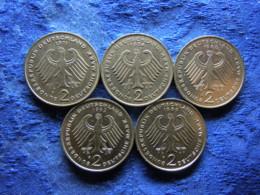 GERMANY 2 MARK 1971F, 1974J KMA127, 1988J, 1992F KM149, 1989F KM170 - [ 7] 1949-… : RFA - Rép. Féd. D'Allemagne