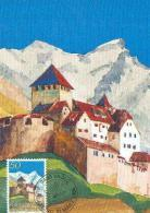 LIECHTENSTEIN CARTE MAXIMUM NUM.YVERT 838 CHATEAU DE VADUZ - Maximum Cards