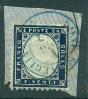 V7360 ITALIA 1862 REGNO 20 C.su Frammento Con Annullo Azzurro Completo PIEVE D'ONEGLIA 2 LUG 62, Punti 9,ottime Condizio - Usati