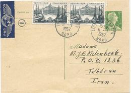 CARTE POSTALE A 12 FR MARIANNE DE MULLER AVEC AFFRANCHISSEMENT COMPLEMENTAIRE POUR L'IRAN - Postal Stamped Stationery