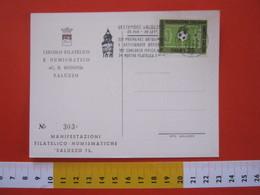 A.01 ITALIA ANNULLO - 1973 SALUZZO CUNEO CONCORSO IPPICO MOSTRA ANTIQUARIATO ARTIGIANATO CARD FIGC CALCIO FOOTBALL - Ippica