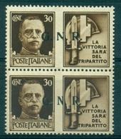 V7475 ITALIA 1944 RSI Propaganda Di Guerra Sopr. GNR 30 C., MNH**coppia Verticale Con Sovrastampa Del II E III Tipo,Sass - 4. 1944-45 Repubblica Sociale