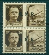 V7476 ITALIA 1944 RSI Propaganda Di Guerra Sopr. GNR 30 C., MNH**coppia Verticale Con Sovrastampa Del II E III Tipo,Sass - 4. 1944-45 Repubblica Sociale