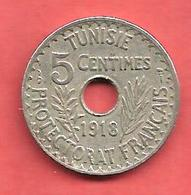5 Centimes , TUNISIE , Nickel- Bronze , 1918 , N° KM # 242 - Kolonien