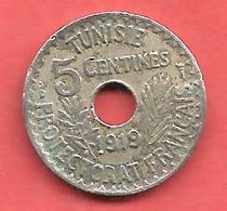 5 Centimes , TUNISIE , Nickel- Bronze , 1919 , N° KM # 242 - Kolonien