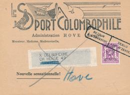 301/28 - BELGIQUE - Carte Illustrée PIGEON - Le Sport Colombophile à HOVE - TP PREO Petit Sceau 1949 + RETOUR - Tauben & Flughühner