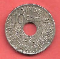 10 Centimes , TUNISIE , Nickel-Bronze , 1920 , N° KM # 243 - Kolonien