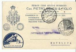 CP0028-CARTOLINA PUBBLICITARIA STUDIO ARTISTICO FOTOGRAFICO CAV.PIETRO SENESI & FIGLIO CAMERINO - 1900-44 Victor Emmanuel III