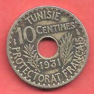 10 Centimes , TUNISIE , Nickel-Bronze , 1931 , N° KM # 259 - Kolonien