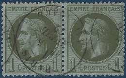 Napoléon III 1862 N°25  1c Vert Bronze Paire Obl Du Dateur De Paris Tres Frais & Ttb !! - 1863-1870 Napoléon III Lauré
