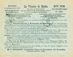 305/28 - BELGIQUE ASSURANCES - Enveloppe TP Fine Barbe BRUXELLES 1900 - Verso La Victoria De Berlin Assurances - Timbres