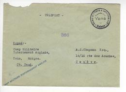 YENS FELDPOST CAMP MILITAIRE D'INTERNEMENT ANGLAIS CENSURE CENSOR WW2 SUISSE INTERNES CAMP INTERNEMENT /FREE SHIP. R - Storia Postale