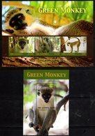 GAMBIA, 2018, MNH, PRIMATES, MONKEYS, GREEN MONKEY,  SHEETLET+ S/SHEET, HIGH FV - Monkeys
