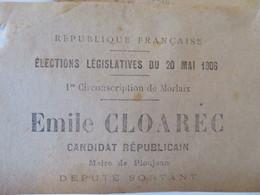 29 - 2 Bulletins De Vote élections Législatives Morlaix Candidat Emile Cloarec Maire De Ploujean - Non Classés