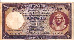 EGYPT  P. 22b 1 P 1933 F/VF - Egypte