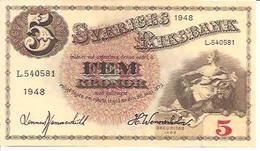Sweden  5 Kronor  1948 - Suède