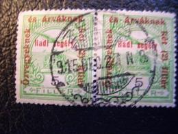 Hungary, 1915, Hungarian Royal Post, Pair, Postal Stamps Zenta (Senta, Serbia) - Hungary