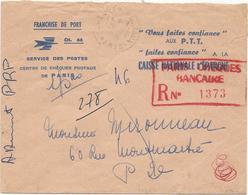 LETTRE 1965 EXPEDIEE EN POSTE RESTANTE AVEC CACHET ROUGE PARIS CHEQUES BANCAIRE R N° 1373 - Marcophilie (Lettres)