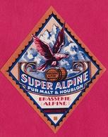 "BARCELONNETTE - ETIQUETTE BRASSERIE ALPINE -  ""SUPER ALPINE"" - Bière"