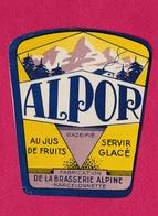 """BARCELONNETTE - ETIQUETTE BRASSERIE ALPINE -  """"ALPOR"""" - Labels"""