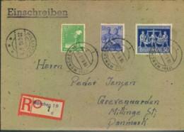 1948, Auslandseinschreiben AbMÜNCHEN 19 -19.6.48 Nach Dänemark - Gemeinschaftsausgaben